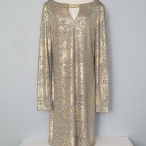 Vince Camuto metallic gold shift dress